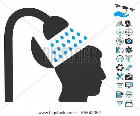 Open Mind Shower pictograph with bonus uav tools pictures. Vector illustration style is flat iconic blue and gray symbols on white background.