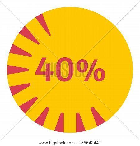Web preloader 40 percent icon. Flat illustration of web preloader vector icon for web design