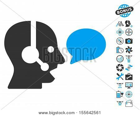 Operator Message Balloon icon with bonus nanocopter tools pictograms. Vector illustration style is flat iconic blue and gray symbols on white background.