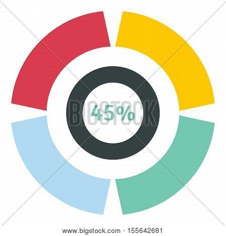 Web preloader 45 percent icon. Flat illustration of web preloader vector icon for web design