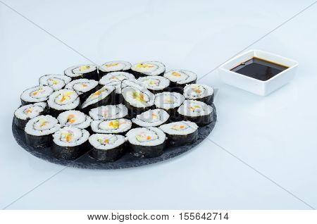 Maki Sushi, Rolls On Slate Plate.