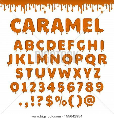 Vector caramel latin alphabet abc. Sweet candy set of glossy and shiny brown letters isolated on white background. Liquid yellow honey text for lettering design.