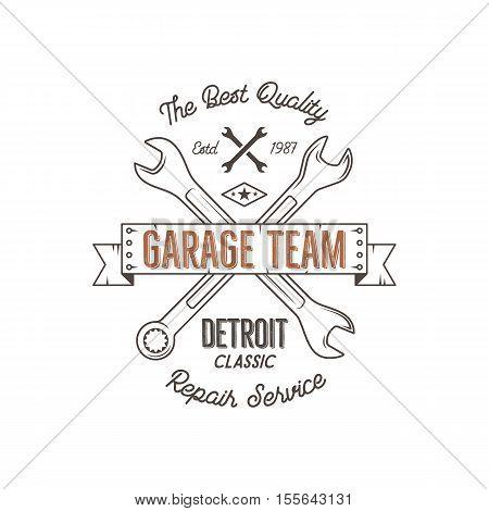 Garage service vintage tee design graphics, Detroit classic, repair service typography print. T-shirt stamp, teeshirt graphic, premium retro artwork. Use as emblem, logo, label. Vector