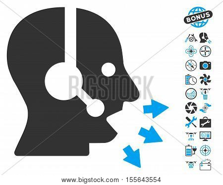 Operator Speak icon with bonus flying drone service pictograms. Vector illustration style is flat iconic blue and gray symbols on white background.