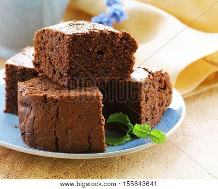 Homemade brownies cakes. Chocolate brownie cake pastries