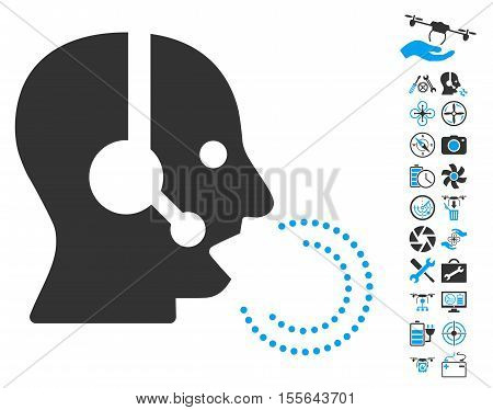 Operator Speech icon with bonus quad copter tools images. Vector illustration style is flat iconic blue and gray symbols on white background.