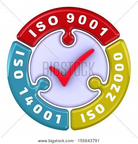ISO 9001, ISO 14001, ISO 22000. The check mark in the form of a puzzle. The inscription