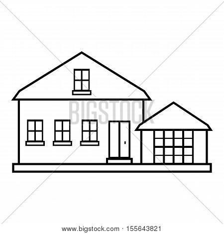 Suburban american house icon. Outline illustration of house vector icon for web design