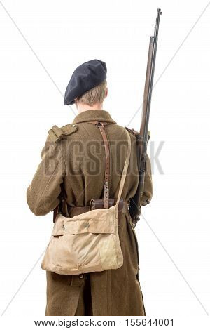 40's french soldier back view isolated on white background