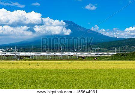 Bullet Train, Shinkansen Travels Below Mt. Fuji In Japan