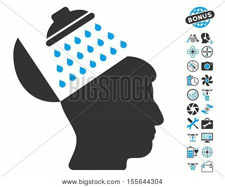Propaganda Brain Shower pictograph with bonus airdrone tools design elements. Vector illustration style is flat iconic blue and gray symbols on white background.