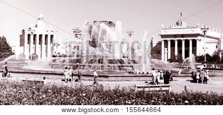 Moscow Russia - July 1962: Fountain of Friendship of Peoples on VDNKh.