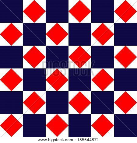 Blue red and white geometric square tiles simple seamless pattern, vector background