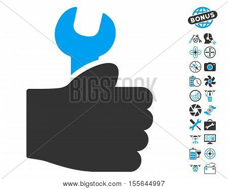 Service Hand pictograph with bonus uav service images. Vector illustration style is flat iconic blue and gray symbols on white background.