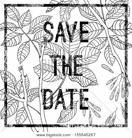 Vector hand drawn black and white ash tree set for textile, fabric, postcards, wallpaper, scrapbooking and others. Vector postcard invitation with inscription save the date.