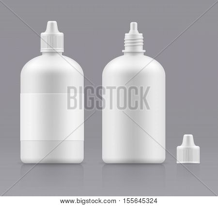 Vector blank bottle with cap. Open and closed white medical container - 3d object for design. Plastic packing realistic template. Mockup packaging. Medicine Eye Wash Bottles. Liquid lens