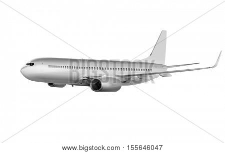 big commercial plane on white background