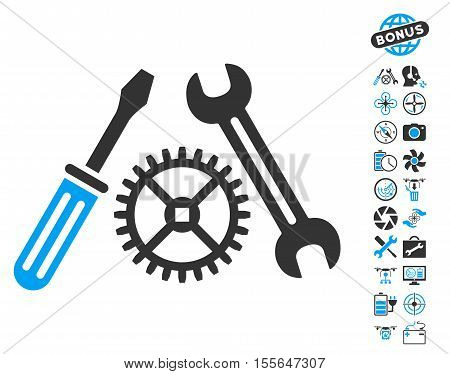 Tuning Service pictograph with bonus copter service pictures. Vector illustration style is flat iconic blue and gray symbols on white background.