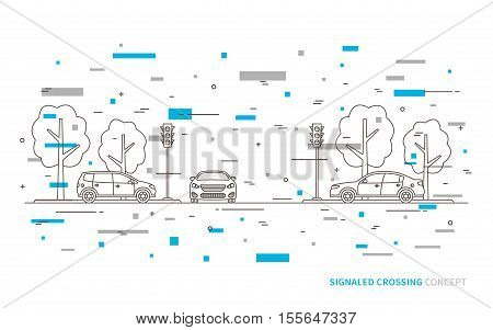 Traffic lights at the crossroad vector illustration with colorful decorative elements. Light signals with cars line art concept. Traffic controller graphic design.