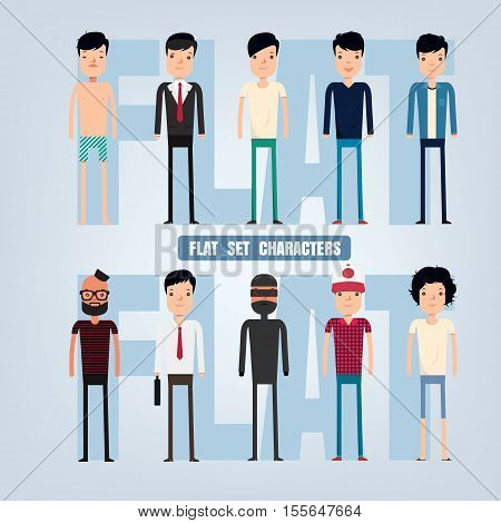 Set characters cartoons in a flat style.