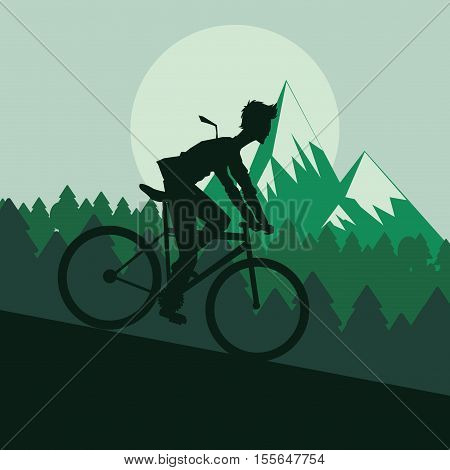 Man riding bike icon. Healthy lifestyle racing ride and sport theme. Mountain background. Vector illustration