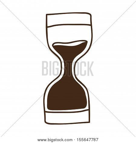 sandclock time device icon over white background. draw design. vector illustration