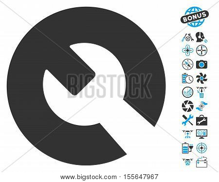 Wrench pictograph with bonus quad copter service pictograms. Vector illustration style is flat iconic blue and gray symbols on white background.