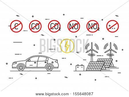 Electric car vector concept. Electrical car with ecological power energy resources wind turbines solar panels illustration. CO2 NO2 symbols with red restriction signs graphic design.