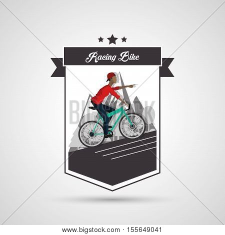 Man riding bike inside shield and ribbon icon. Healthy lifestyle racing ride and sport theme. Vector illustration