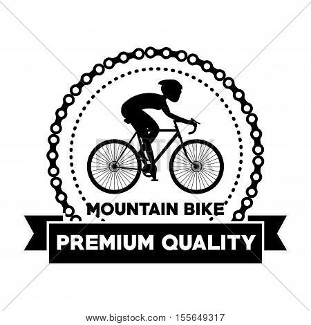Man riding bike inside circle and ribbon icon. Healthy lifestyle racing ride and sport theme. Vector illustration