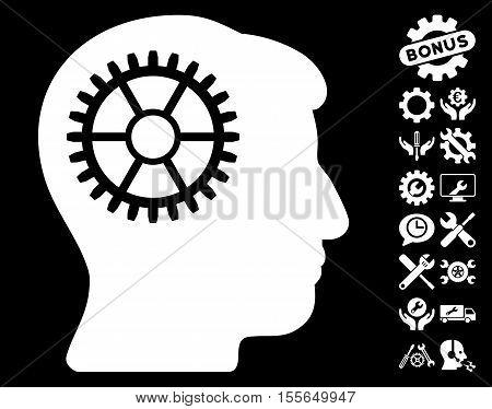 Intellect Cog icon with bonus tools images. Vector illustration style is flat iconic white symbols on black background.