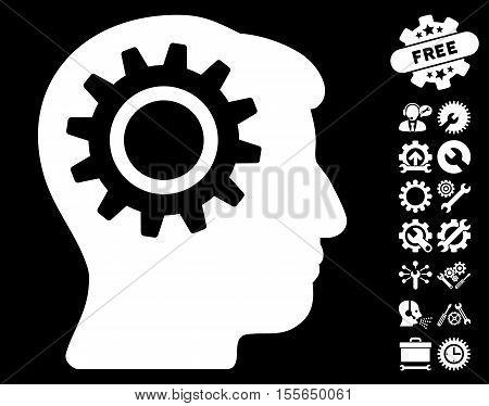 Intellect Gear icon with bonus tools icon set. Vector illustration style is flat iconic white symbols on black background.