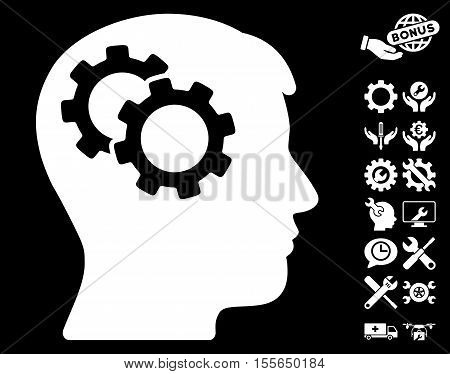 Intellect Gears pictograph with bonus settings symbols. Vector illustration style is flat iconic white symbols on black background.