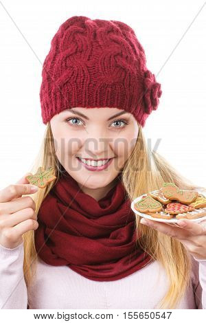 Smiling Woman In Woolen Cap And Shawl Holding Gingerbreads, Christmas Time