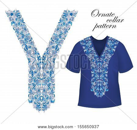 Shirt and jacket collar pattern. Embriodery ornament on blue T-shirt mock up. Vector. Blue