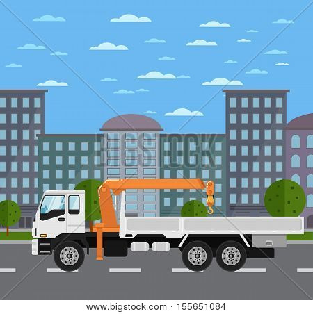 Commercial truck mounted crane on road in city vector illustration. Urban cityscape background with skyscrapers. Modern mobile hydraulic crane side view. Vehicle for cargo transportation service.