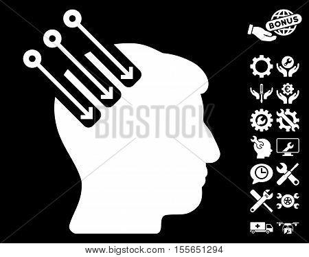 Neuro Interface icon with bonus configuration graphic icons. Vector illustration style is flat iconic white symbols on black background.