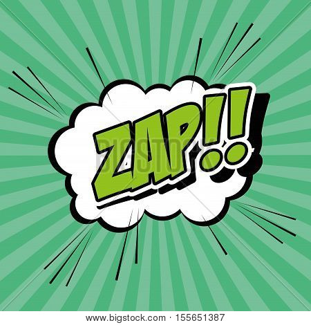 Bubble pop art of zap icon. Comic communication retro and expression theme. Vector illustration
