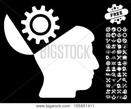 Open Head Gear pictograph with bonus configuration pictograph collection. Vector illustration style is flat iconic white symbols on black background.