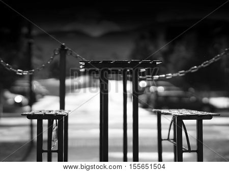 Black and white cafe table with benches backdrop hd