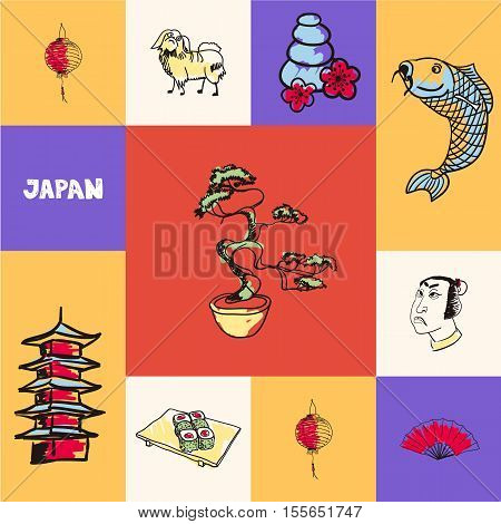 Checkered concept with japanese national and country related symbols. Bonsai, koi fish, samurai face, lantern, hand fan, pagoda tower, massage stones, sushi, japanese chin hand drawn vector icons set