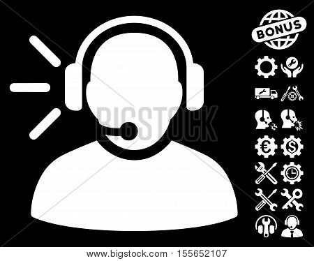Operator Message icon with bonus setup tools pictures. Vector illustration style is flat iconic white symbols on black background.