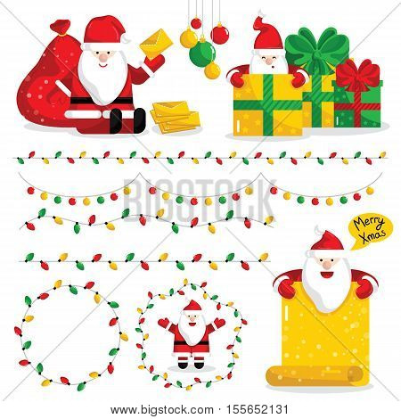 Christmas decoration set isolated on white background. Cartoon christmas decoration and christmas gift box isolated. Christmas bells, cookies and other christmas decoration. Christmas light decoration. Funny christmas decoration. Christmas decoration icon