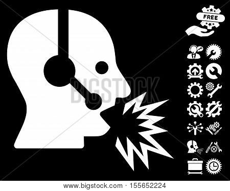 Operator Shout pictograph with bonus configuration graphic icons. Vector illustration style is flat iconic white symbols on black background.