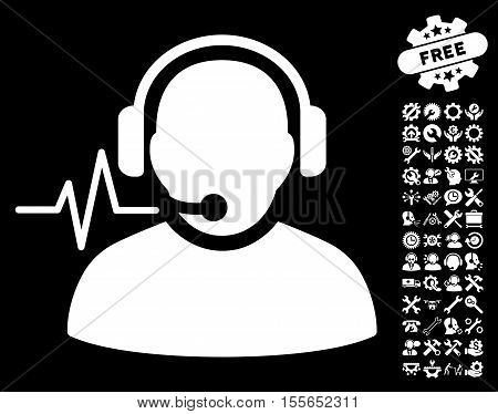 Operator Signal pictograph with bonus setup tools pictograms. Vector illustration style is flat iconic white symbols on black background.