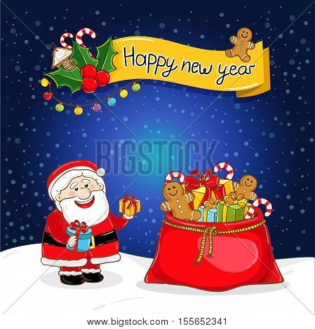Happy New Year greeting card with Santa Claus and big red sack full of gifts vector illustration. Smiling Santa with giftbox. Snowflakes background. Seasons greetings. Cartoon character