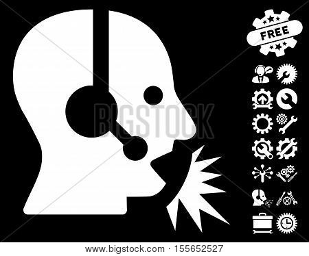 Operator Speech icon with bonus setup tools icon set. Vector illustration style is flat iconic white symbols on black background.