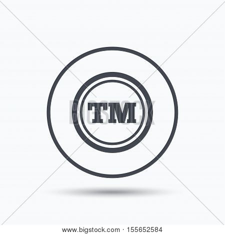 Registered TM trademark icon. Intellectual work protection symbol. Circle button with flat web icon on white background. Vector