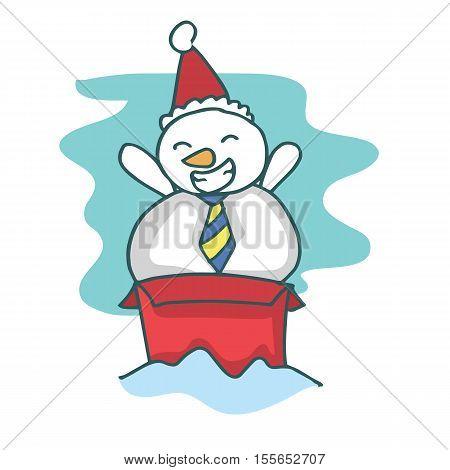 Cartoon snowman on the box stock collection