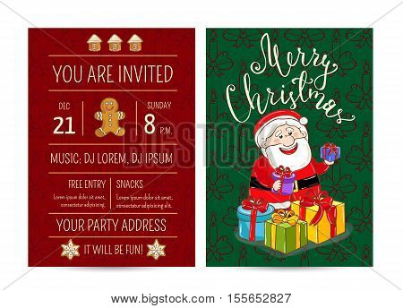 Invitation on Christmas party with date and time. Cheerful Santa, wrapped gifts, gingerbread cookies. Christmas party invitation layout. Merry Christmas and Happy New Year invitation. Template of christmas party invitation. Ad christmas party invitation
